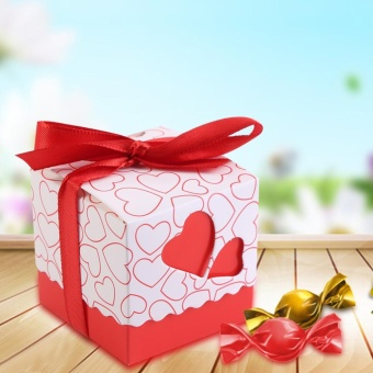 50Pcs Square Shape Wedding Birthday Party Favor Chocolate CandyGift Boxes with Ribbon (Red) - intl
