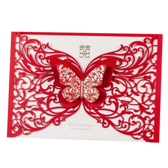 50pcs/lot Red Laser Cut Stereo Butterfly Hollow Pattern FestiveWedding Party Invitation Card (Red) - Intl