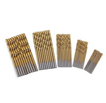50Pcs/Set Twist Drill Bit Set Coated Drill Woodworking Wood Tool1/1.5/2/2.5/3mm For Metal - Titanium Color - intl