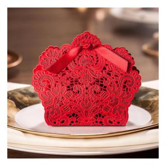 50sets Red Elegant Lace Design Wedding/Events/Party/Special Occasion Paper Favor Box with Ribbon Gift Box