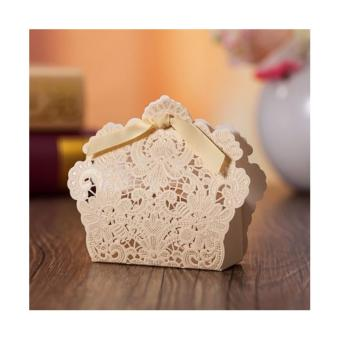 50sets Wedding Favors Gold Elegant Lace Design Wedding/Events/Party/Special Occasion Paper Favor Box with Ribbon Gift Box
