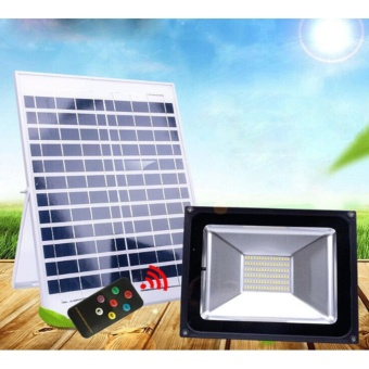 50W Solar Powered LED Flood lights with Remote Controller OutdoorWaterproof LED Integrated Spot Light - intl