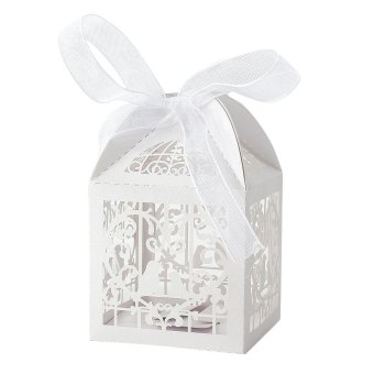 50x Dragees Box Candy Heart White Bird Cage for Wedding Baptism (Intl)