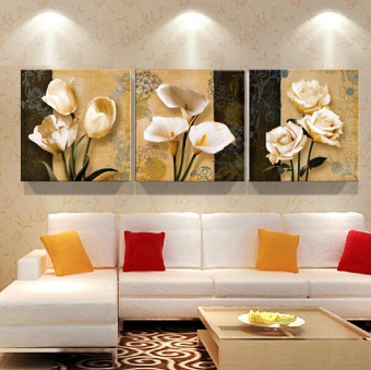 50x50cm 3 Piece Brown Orchid Modern Wall Painting Pictures On Canvas No Frame