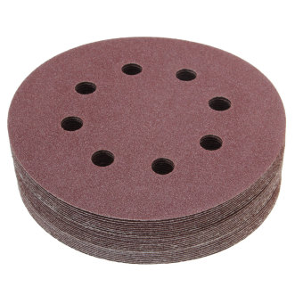 5'' 8 Hole 120 Grit Sand Disc Random Orbit Sandpaper Loop Hook Sanding Sander - intl