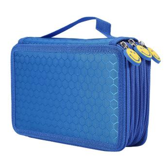 55 Holes 3 Layers Sketch Stationery Pencil Box Pen Case Holder(Blue) - intl