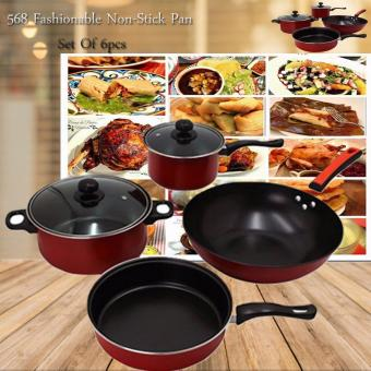 568 Fashionable Non-Stick Pan Set Of 6pcs (Black/Red)