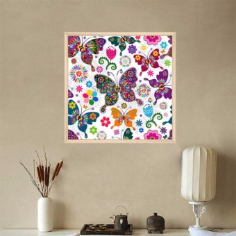 5D Diamond Painting Oly LA111-1 butterfly 35x35cm Round DIY Cross Stitch Crystal Wall Art Pictures Decorative Gift Full Diamond Embroidery giving - intl - 3