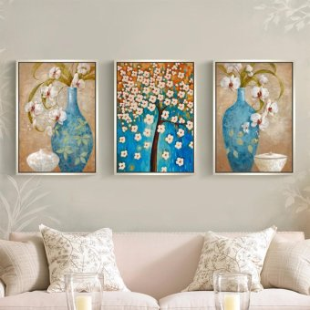 5D Diamond Painting Oly LA201-1 Vase 40x56cm 3 pieces Round DIYCross Stitch Crystal Wall Art Pictures Decorative Full DiamondEmbroidery - intl