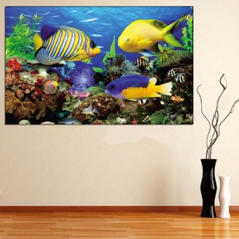 5D Undersea Fish Diamond Embroidery Painting Cross Stitch Kit Home Decor DIY - Intl