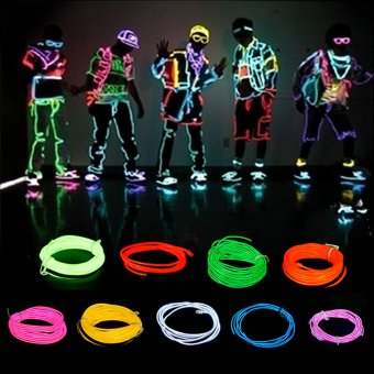 5M 15FT Red Neon LED Light Glow EL Wire String Strip Rope Tube Car Dance