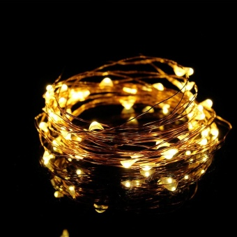 5M 50 Led USB connector String Fairy Lights Garland Copper Wire Yellow - intl