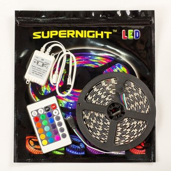 5M/16.4 Ft SMD 3528 RGB LED Color Changing 300 LED Flexible Strip Light with 24 K IR Remote Control - Intl