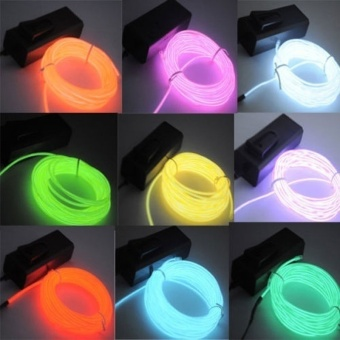 5M/16ft Flexible EL Wire Neon LED Light Rope Party Car Decoration(Color:Fluorescent Green)