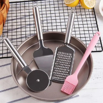 5Pcs 9 Inch Pizza Pan Stainless Steel Household Pizza Baking Tool Set - intl