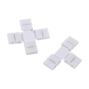 5Pcs Solderless 4pin Clip-on Connectors Adapters for 10mm RGB 5050LED Strip Light (T Shape) - intl - 5