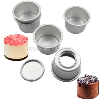 5pcs/lot 2inch(Dia 6cm) Aluminum Alloy Round Mini Cake Pan Removable Bottom Pudding Mold DIY Baking Kitchen Tools (Size: 2 inch) - intl