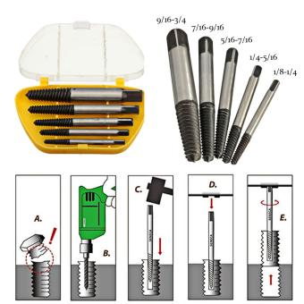 5Pcs/Set Screw Extractor Easy Out Set Drill Bits Guide Broken Damaged Bolt Remover - intl