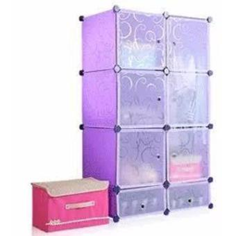 6 Door Plastic Shelf Organizer Clothes Cabinet with 2 Shoe Cabinet