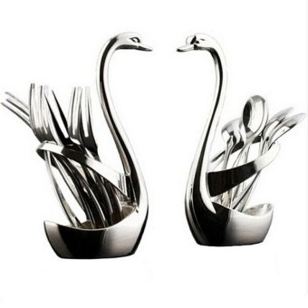 6 pcs Stainless Steel Swan Forks and Spoons Set - intl
