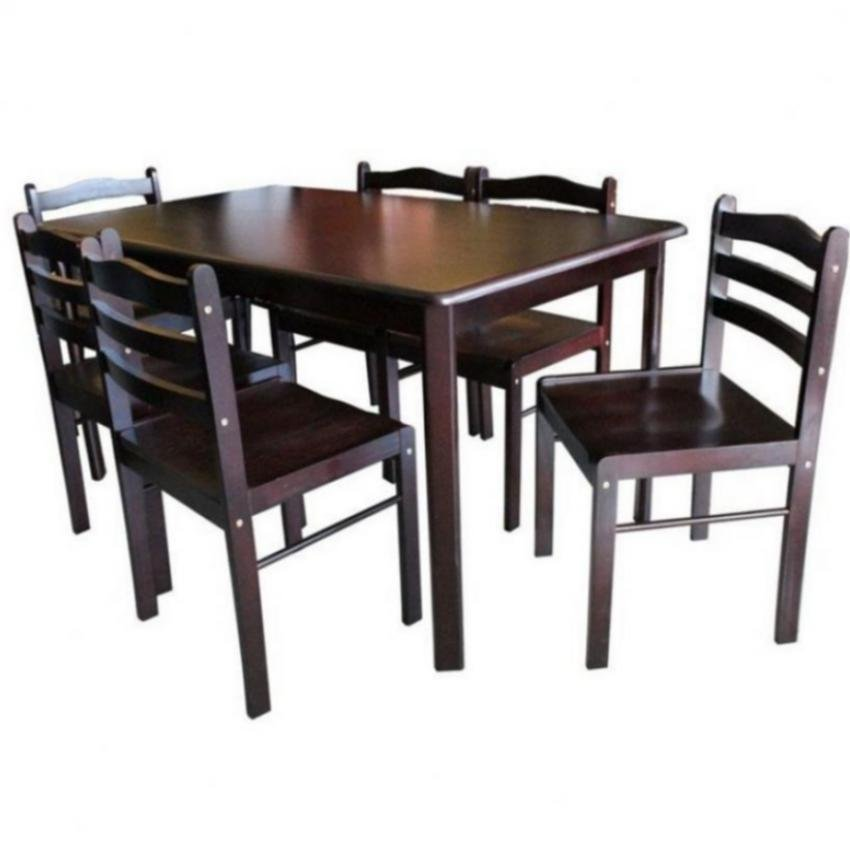 6 Seater Dining Table Set And Chairs Pressboard Wenge