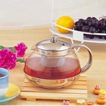 600ml-Heat-resisting Clear Glass Teapot Stainless Steel InfuserFlower Tea Pot