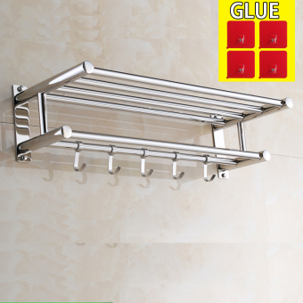 60cm*22cm*15cm,Bathroom Shelves, Two Layer Towel Holders Bath,towel Rack ,bathroom Shelves, Stainless Steel,No punching isrequired