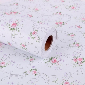 60cm*2.5m Vinyl Self-adhesive Wallpaper Rolls Floral Wall coveringWaterproof Sticker (White) - intl