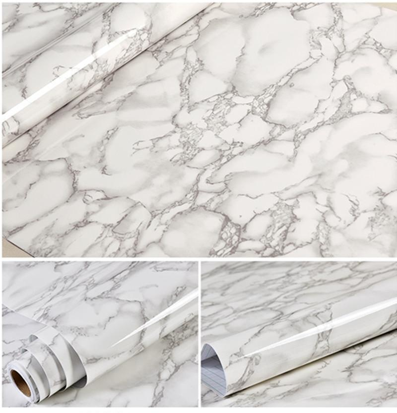 ... 60cmx500cm Thick White Flower Marble Waterproof Vinyl Self  AdhesiveWallpaper Sticker Modern Contact Paper Kitchen Countertop  ShelfDrawer ...