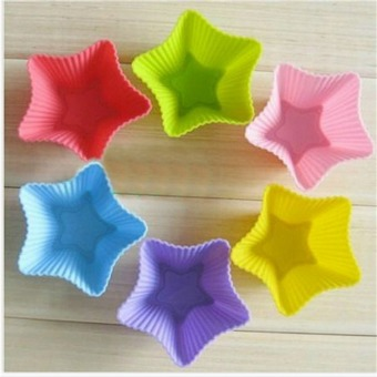 6/PCS Multi-color Silicone Cake muffin Cupcake Mold Round Shape Baking Mould 03# - Intl