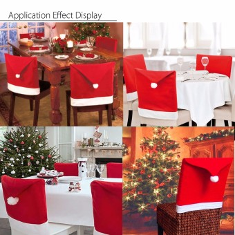 6x Christmas Chairs Back Cover Dinner Table Santa Hat Home Party Xmas Decor Gift - intl