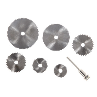 7PC Dremel Cutoff Circular Saw HSS Rotary Blade Tool Cutting Discs Mandrel