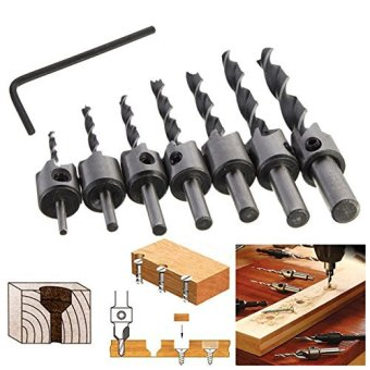 7pcs HSS 5 Flute Countersink Drill Bit Set Carpentry Reamer Woodworking Chamfer End Milling 3mm-10mm