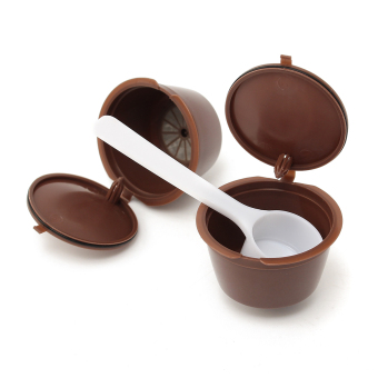 7pcs Refillable Coffee Capsules Cups Coffee Filter Baskets with Plastic Spoon for Dolce Gusto Reusable Brewers Refill Cup Filter - intl
