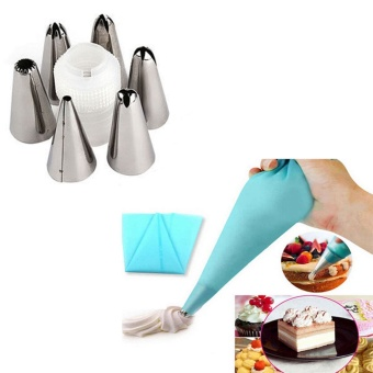 7pc/set Silicone Icing Piping Cream Pastry Bag with 6pcs StainlessSteel Nozzle Sets Cake DIY Decorating Baking Tool Bakeware - intl