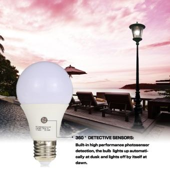 7W E27 Dusk to Dawn 360 Degree Sensor Light Bulb SMD2835AC110V-240V 630LM Auto Switch Constant Current Lamp for CorridorBalcony Attic Parking Lot Park Courtyard Bathroom White - intl