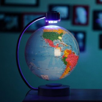 8 Inch Electronic Magnetic Levitation Floating Globe World Map with LED Lights for Boyfriend Christmas Gift Home Decoration - intl