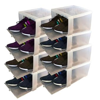 8 pcs Combo Hitop Drop Front Plastic Shoe Boxesstockable/Multi-purpose storage box (Clear)