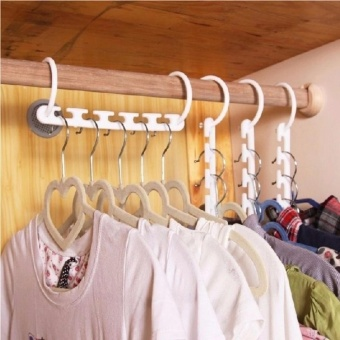 8 Pieces Portable Space Saver Wonder Magic Hanger Coat Clothes Closet Organizer Hooks(White)