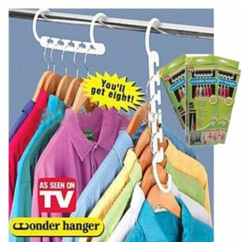 8 Pieces Portable Space Saver Wonder Magic Hanger Coat ClothesCloset Organizer Hooks(White)