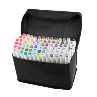 80 PCS Color Paint Graphic Art Twin Nib Alcohol Based Ink PenMarker Point Pen Set with Black Storage Bag White Pen Shell