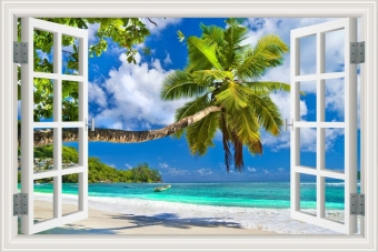 80x120cm Blue Sky White Cloud Coconut Tree Tropic Scenery 3D WallSticker Creative Window View Removable Decal Home Decor Price Philippines