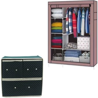 88105 Storage Wardrobe Clothes Organizer(Brown) With Foldable WovenClothing Storage Box (Dotted Green)