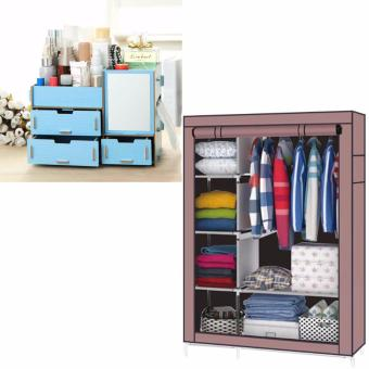 88105 Storage Wardrobe Clothes Organizer(Brown) With MultifunctionWooden Drawer Style Makeup Cosmetics Jewelry Storage Box Case RackOrganizer (Blue)