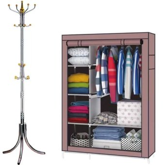88105 Storage Wardrobe Clothes Organizer(Brown) With StainlessSteel Hat/Coat/Clothes Stand Rack (Silver/Gold)