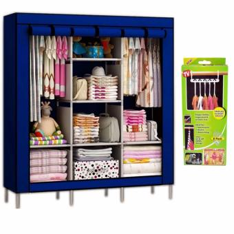 88130 High Quality Multifunctional Dustproof High Capacity WardrobeStorage Cabinet (Blue)with Triple closet Space Saver Hanger