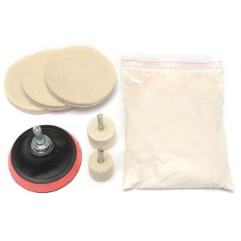 8Pcs 8Oz Glass Scrach Remover Polishing Kit Cerium Oxide Powder w/3'' Wheel+Felt - intl - 3