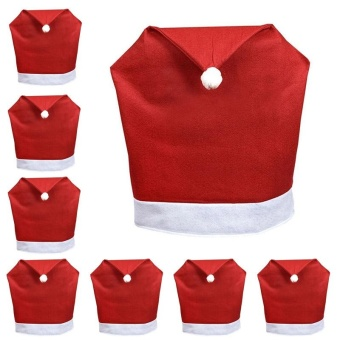 8pcs New Fashion Santa Clause Red Hat Chair Back Cover Christmas Dinner Table Party Decor For Christmas - intl