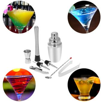 8pcs Stainless Steel Professional 350ml Cocktail Shaker Mixer Kit with Muddler Corkscrew Jigger Ice Tongs Mixing Spoon Pourers Bartender Set Home Bar Tool - intl