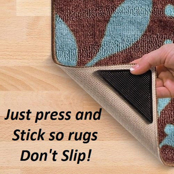 8x RUGGIES RUG CARPET MAT GRIPPERS NON SLIP SKID REUSABLE WASHABLEGRIPS TOOL - Intl